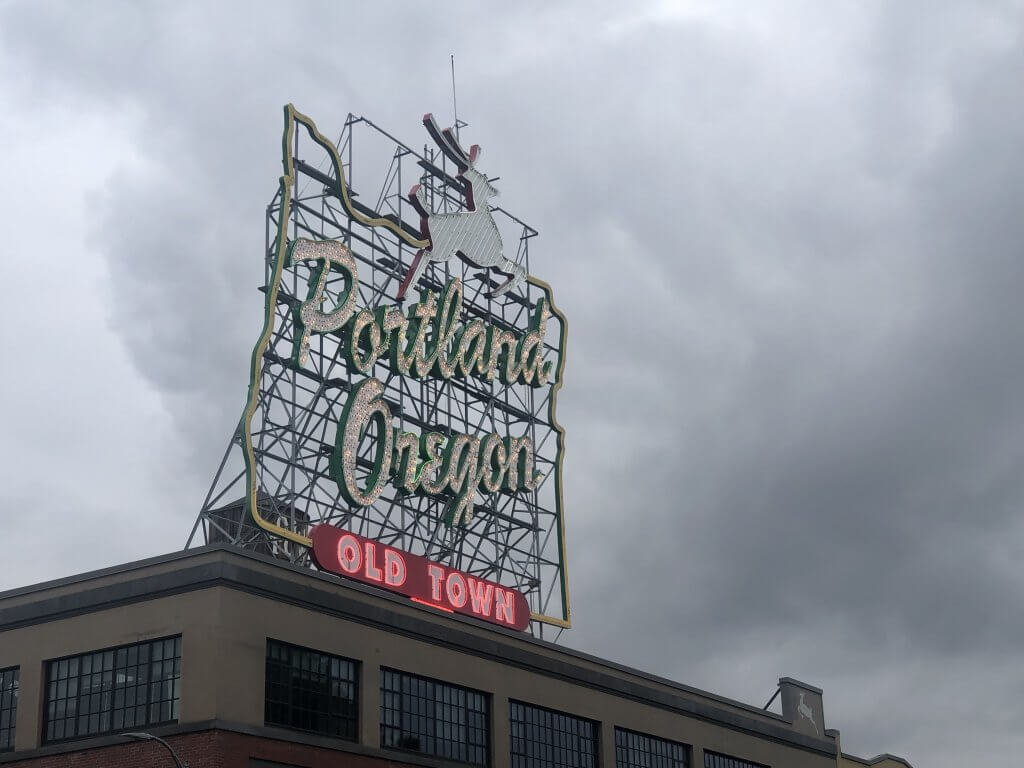 Portland, Oregon White Stag Sign